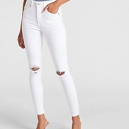 High Waisted White Ripped Skinny Jeans | Express