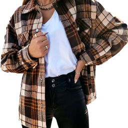 Himosyber Women's Vintage Lapel Plaid Button Up Brushed Wool Blend Shirts Shacket Outerwear | Amazon (US)