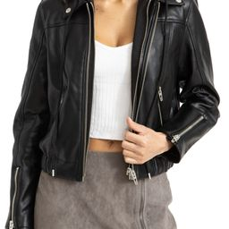 Faux Leather Bomber Jacket with Removable Hood | Nordstrom