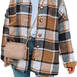 Qiaomai Womens Retro Wool Blend Plaid Long Sleeve Lapel Button Short Shackets Coats | Amazon (US)