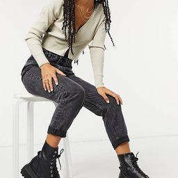 Bershka organic cotton mom jean in washed black   ASOS (Global)