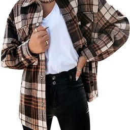 EFOFEI Womens Flannel Plaid Tartan Shirt Buttons Pocket Checked Blouse Casual Long Sleeve Check T... | Amazon (US)