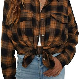 Blooming Jelly Women's Button Down Shirts Plaid Shacket Long Sleeve Collared Business Casual Tops... | Amazon (US)