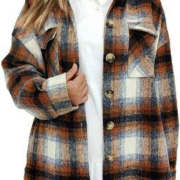Women's Casual Oversize Label Button Down Long Sleeve Blend Wood Plaid Shacket Jacket Coat | Amazon (US)