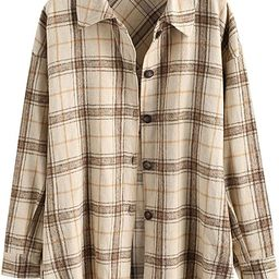 ZAFUL Women's Plaid Long Sleeve Button Down Wool Blend Shirt Jacket Blouse | Amazon (US)