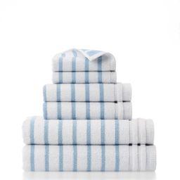 Gap Home Easy Stripe Organic Cotton 6 Piece Bath Towel Set White/Blue - Walmart.com   Walmart (US)