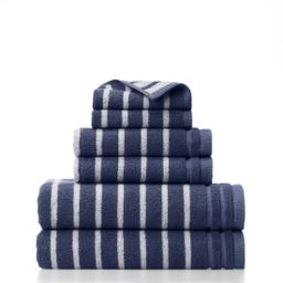 Gap Home Easy Stripe Organic Cotton 6 Piece Bath Towel Set Navy/White - Walmart.com | Walmart (US)