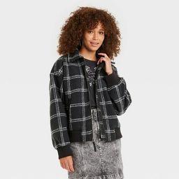 Women's Plaid Knit Bomber Jacket - Universal Thread™   Target
