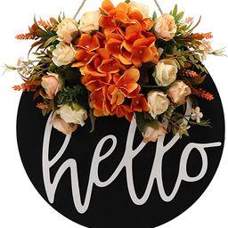 Fall Wreaths for Front Door Decor Hello Welcome Sign for Front Door Spring Summer Fall Wreath Far...   Amazon (US)