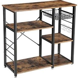 VASAGLE ALINRU Kitchen Baker's Rack, Coffee Bar with Wire Basket 6 Hooks Microwave Oven Stand M... | Amazon (US)