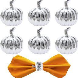 Legigo Set of 6 Halloween Napkin Rings for Dinning Table Settings- Silver Rustic Pumpkin Napkin H... | Amazon (US)