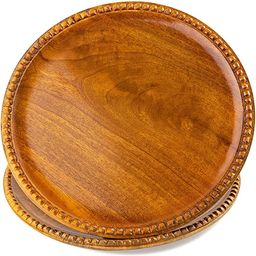 12 Inch Beaded Handcrafted Wooden Plates, Set of 2 Serving Round Charger Platters & Trays, Natura... | Amazon (US)