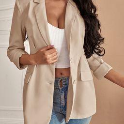 Lapel Neck Single Breasted Blazer | SHEIN