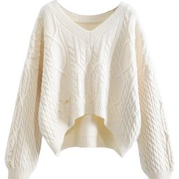 'Kelly' V-neck Cable Knit Distressed Sweater (5 Colors) | Goodnight Macaroon