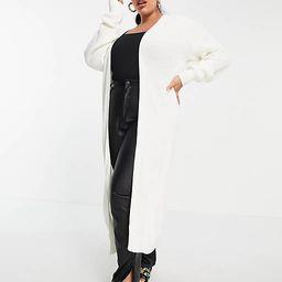 Fashionkilla Plus knit longline cardigan in ecru   ASOS (Global)