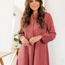 Lasting Daydream Brick Henley Babydoll Ribbed Dress   The Pink Lily Boutique