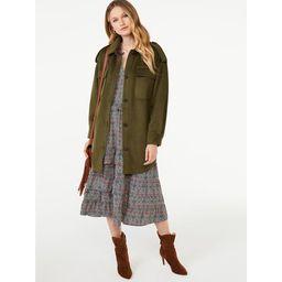 Scoop Women's Oversized Faux Wool Jacket with Belt | Walmart (US)