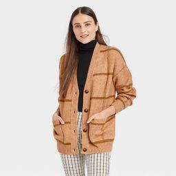 Women's Jacquard Boyfriend Cardigan - A New Day™ Camel S   Target