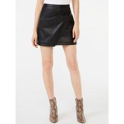 Scoop Women's Faux Wrap Faux Leather Short Skirt | Walmart (US)