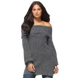 Sofia Jeans by Sofia Vergara Women's Fold Over Off The Shoulder Tunic Sweater | Walmart (US)