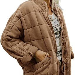 Women Quilted Lightweight Jackets Zip Up Long Sleeve Coat Stand Neck Winter Down Parkas   Amazon (US)