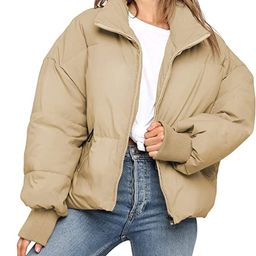 KYL Women's Winter Puffer Jacket Cropped Full-Zip Pockets Quilted Padded Bubble Coat   Amazon (US)