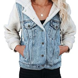 Sidefeel Womens Long Sleeve Button Up Denim Jackets Patchwork Fleece Hooded Coat with Pockets   Amazon (US)