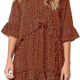 MITILLY Women's V Neck Ruffle Polka Dot Pocket Loose Swing Casual Short T-Shirt Dress | Amazon (US)