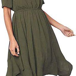 Alaster Women's Chiffon Short Sleeve Casual Midi Dress Irregular Hem Summer Dress | Amazon (US)