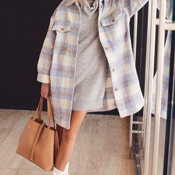 Warmest Winter Blue Multi Plaid Wool Jacket | Lulus (US)