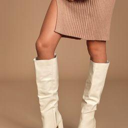 Katari Off White Pointed-Toe Knee High Boots   Lulus (US)