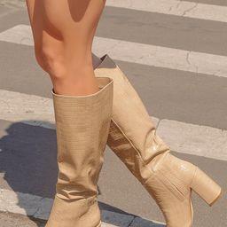 Katari Light Nude Croc Pointed-Toe Knee High Boots   Lulus (US)