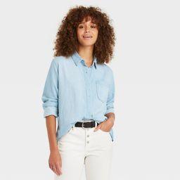 Women's Long Sleeve Denim Button-Down Shirt - Universal Thread Blue XL | Target