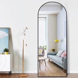 65 in. x 22 in. Modern Arched Shape Framed Black Standing Mirror Full Length Floor Mirror | The Home Depot
