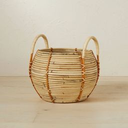 """10"""" x 10.5"""" Round Rattan Basket with Handle Natural - Opalhouse™ designed with Jungalow™   Target"""