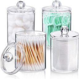 AOZITA 4 Pack Qtip Holder Dispenser for Cotton Ball, Cotton Swab, Cotton Round Pads, Floss - 10 o... | Amazon (US)