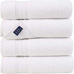 Hammam Linen White Bath Towels 4-Pack - 27x54 Soft and Absorbent, Premium Quality Perfect for Dai... | Amazon (US)