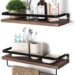 SODUKU Floating Shelves Wall Mounted Storage Shelves for Kitchen, Bathroom,Set of 2 Brown | Amazon (US)