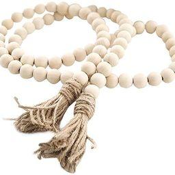 Farmhouse Beads 58in Wood Bead Garland with Tassels Rustic Country Decor Prayer Boho Beads Big Wa... | Amazon (US)