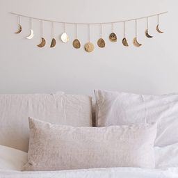 "Moon Phase Wall Hanging Handmade Hammered Gold Metal 13 Moons 36"" Garland, Boho Decor Modern Cele... | Amazon (US)"