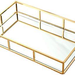 PuTwo Tray Mirror, Gold Mirror Tray Perfume Tray Mirror Vanity Tray Dresser Tray Ornate Tray Meta... | Amazon (US)