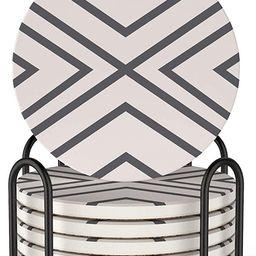 LIFVER 6 Piece Absorbent Coaster Set with Holder, Ceramic Drink Coasters, 4 Inch Farmhouse Coaste... | Amazon (US)