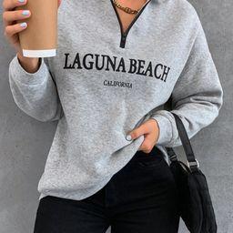 Marled Letter Graphic Drop Shoulder Sweatshirt   SHEIN