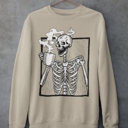 Womens Sweatshirt The Ripper Drinking Coffee  Skeleton Oversized Crew Neck Sweatshirt crew neck s... | Etsy (US)