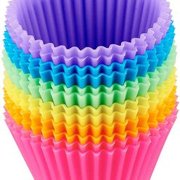 Amazon Basics Reusable Silicone Baking Cups, Muffin Liners - Pack of 12, Multicolor | Amazon (US)