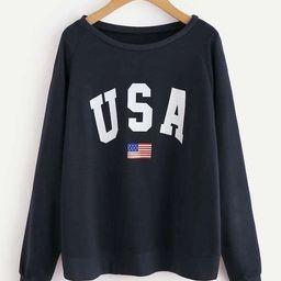 Raglan Sleeve Letter & American Flag Print Sweatshirt | SHEIN