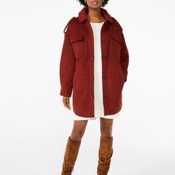 Scoop Women's Oversized Faux Wool Jacket with Belt - Walmart.com | Walmart (US)