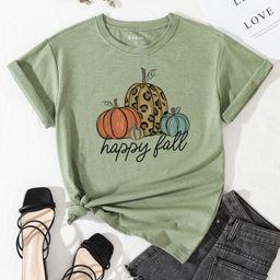 Pumpkin & Slogan Print Round Neck Tee | SHEIN