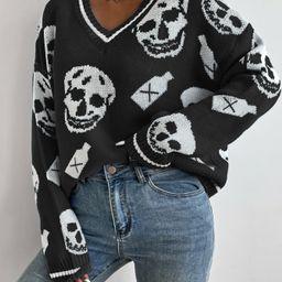 Skull Pattern Drop Shoulder Sweater | SHEIN