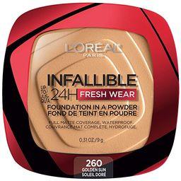 L'Oreal Paris Infallible Fresh Wear Foundation in a Powder, Up to 24H Wear, Golden Sun, 0.31 Fl O... | Amazon (US)